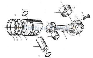PISTON & CONNECTING ROD, WD615-II, SINOTRUK HOWO SPARE PARTS CATALOG
